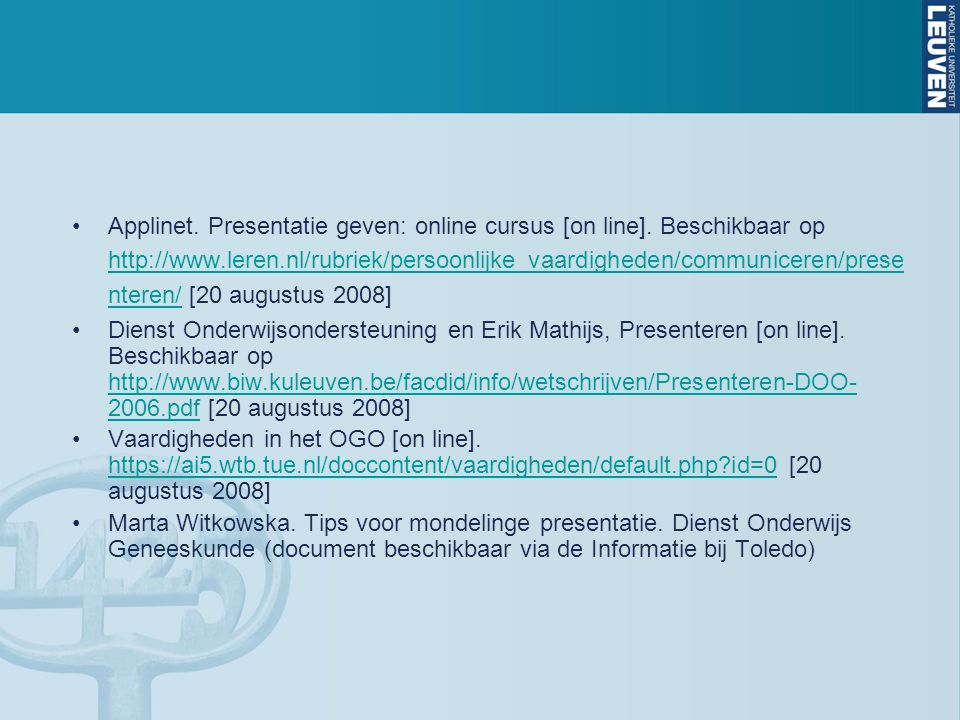 Applinet. Presentatie geven: online cursus [on line]
